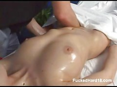 Blonde plays with clit while riding huge dick<br>