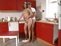 Amateur Girl And Boy In Kitchen<br>