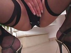 Brunette fucking in nylons