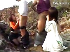 3 Girls Sucking Cocks Getting Their Pussies Fucked By 3 Guys In The Nature 2 Cum To Body Creampie<br>