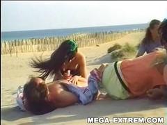Swinger outdoor beach gang-bang ! Real public group sex !!! Part I