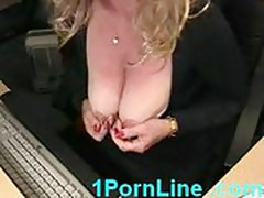 Big nipples and big clit housewife masturbating and squirtin