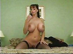 Girl With Huge natural knockers masturbating