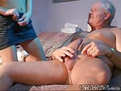 Slutty Baby Sitter Takes Good Care Of The Grandpa