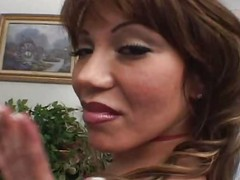 Ava Devine in red stockings