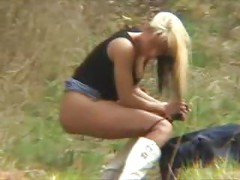 Blonde Girlfriend Gets Dirty in Forest<br>