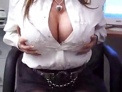 Slutty secretary in stockings