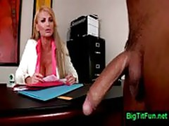 Female boss with huge tits