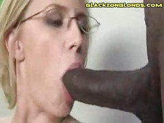 Kinky Blonde Gets Black Cum Mask<br>
