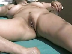 Busty Mature Amateur Wife Outdoor Dildo Masturbation<br>
