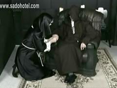 Horny screaming nun got hit