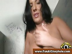 Cock addicted gloryhole brunette sucking off a black cock