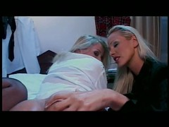 Hot blonde lesbians toy both holes