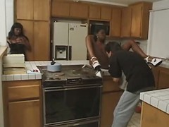 ebony slut in the kitchen