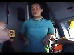 French stewardess strips in the cockpit