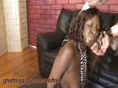 Ebony Oral Ho Gets Passed Around<br>