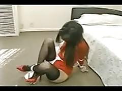 Asian struggles in stockings