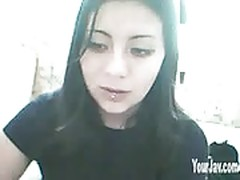 Hot Goth Playing On Webcam