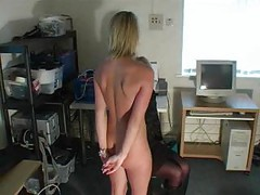 Masturbating blonde gets