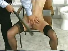 Tied up slave got her legs