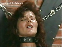 Horny slave with large metal