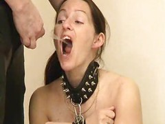 Bondage girl drinks from tap-2