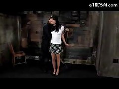 Blackhaired Girl Mouthgag Getting Tied Up Nipples Tortured Spanked Nipples Tortured With Clips In The Dungeon<br>