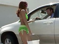 Redhaired Teen Kiki Vidis Carwash Service