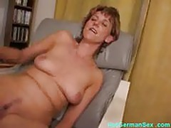 German housewife cums with dildo then sucks cock