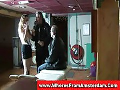 Real amsterdam prostitute sucks and fucks a customer
