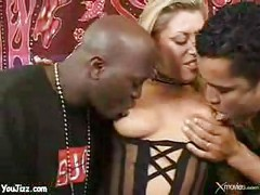 Blonde milf slut takes on two black studs - milf ass<br>