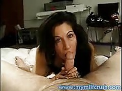 This horny MILF gets splattered with jizz