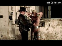 Blonde Slave Getting Her Tits Tortured With Buckets Spanked Whipped By Master<br>