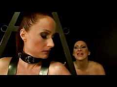Slave In Leather Harness Tied Legs And Arms Tits Rubbed Pussy Fingered By Mistress In The Dungeon<br>
