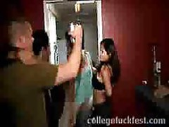 Blonde lesbian gets licked and fingered after the college party
