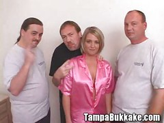 Busty babe Mindi on a Bukkake Gangbang Party<br>