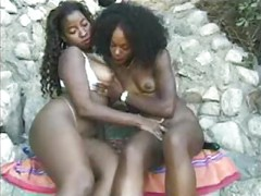 Ebony Lesbians Ass Play with