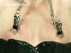 Naughty slave got clamps with