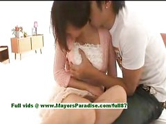 Mai Uzuki,  busty asian chick gets nipples licked and kissing<br>