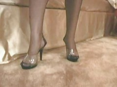 Black stockings footjob