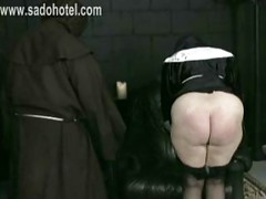 Horny nun got spanked on her