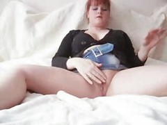 redhead with a toy