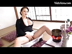 Busty Mature Lady In Black Kimono Masturbating Rubbing Finge