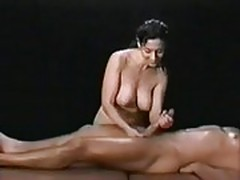 Oily massage handjob