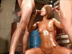 Asian Girl With Oil On Body