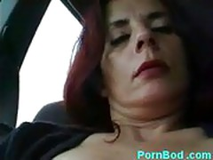 Mature french milf with pierced pussy lips masturbating in c