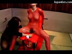 Asian Girl In Red Fishnet Dress Getting Her Pussy Fucked With Vibrator Massaged With Oil<br>