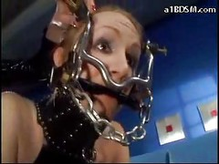 Slave With Tied Legs And Arms Pvc Outfit Tickled Walking Like Dog Fucked With Toy By Mistress In Pvc Police Uniform<br>