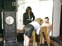 Horny slave in leather skirt