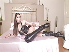 Zafira in black high hells boots